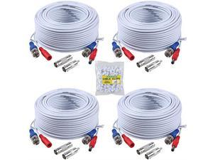 4 30M 100ft AllinOne BNC Video Power Cables BNC Extension Wire Cord for CCTV Camera DVR Security System 4Pack White
