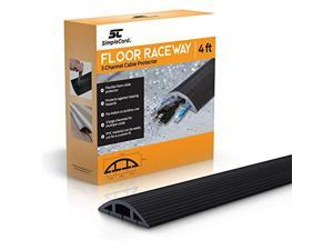 Cord Floor Cord Cover 4 Ft Black Duct Cord Protector Covers Cables Cords or Wires 3 Channel On Floor Raceway for Sidewalks or Walkways in The Home or Office Doorways 4 ft