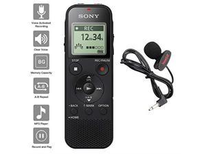 Sony Voice Recorder ICDPX Series with Builtin Mic and USB microSD Card Slot Up to 32 GB to Expand Memory Adjustable Microphone Range Includes A  Lavalier Lapel Mic