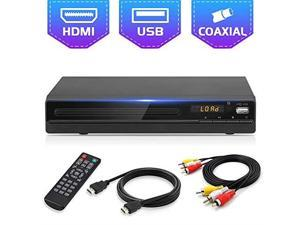DVD Player for TV All Region Free DVD CD Recorded Discs Player with HDMI AV Output HDMI AV Cable Included HD1080P Supported Builtin PAL NTSC Coaxial Port USB Input Remote Control