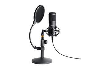 USB Streaming Podcast PC Microphone  Professional 96KHZ24Bit Studio Cardioid Condenser Mic Kit with Sound Card Desktop Stand Shock Mount Pop Filter for Skype Youtuber Gaming Recording
