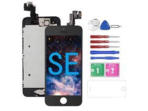 for iPhone SE Screen Replacement with Camera Black for A1662A1723A1724  Compatible with iPhone 5SE Screen Replacement Digitizer LCD Touch Screen Display Full Assembly with Repair Tools