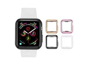 Apple Watch case with Screen Protector for 44mm Apple Watch Series 4 and Series 5 4 Pack Clear+Black+Gold+Rose Gold Does not fit Apple Watch 123