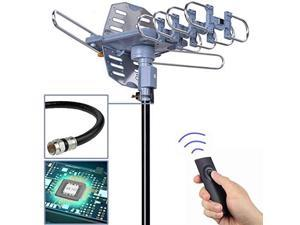 Digital Outdoor TV Antenna 150 Mile Motorized 360 Degree Rotation Support 2 TVs Mounting Pole 50FT RG6 Coax Cable Wireless Remote Control UHFVHF SnapOn Installation