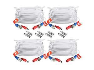 4 Pack 100ft 30 M 2in1 Video Power Cable BNC Extension Surveillance Camera Cables for Security Camera DVR Systems White