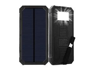 Solar Charger  15000mAh Portable Solar Power Bank with Dual USB Output Ports Solar Phone Charger External Battery Pack with 6 LED Flashlight Light for iPhone iPad Android and More Black