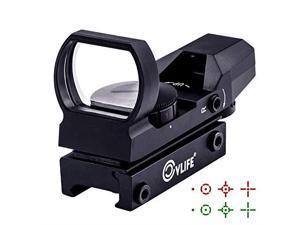1X22X33 Red Green Dot Gun Sight Scope Reflex Sight with 20mm Rail