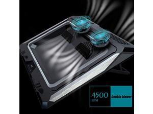GT300 Double Blower Laptop Cooling Pad for 1417 Inch Gaming Laptop Cooler Pad with Dust Filter Flexible Rubber Ring Colorful LightsAdjustable Mount StandThird Gear Speed