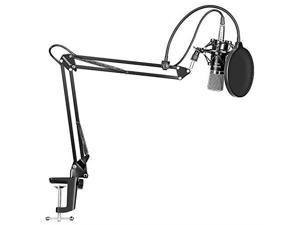 NW700 Professional Studio Broadcasting Recording Condenser Microphone NW35 Adjustable Recording Microphone Suspension Scissor Arm Stand with Shock Mount and Mounting Clamp Kit