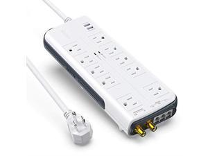 4000 Joules 6 Foot Extension Cord Huntkey Surge Protector Power Strip 12 Outlets Extender with 3 Smart USB Charging Ports 5V//3.1A