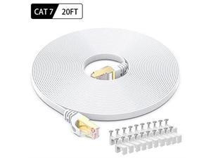 Ethernet Cable 20 Feet High Speed Flat Internet Network Computer Patch Cord Faster Than Cat6 Cat5e Lan Wire Shielded RJ45 Connectors for Router Modem Xbox Printer White