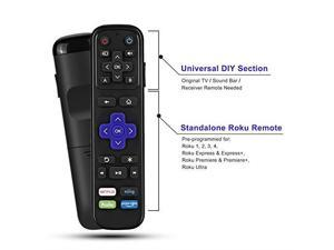 IR Remote Replacement for Roku Streaming Player with 13 Extra Learning Buttons to Control TV Soundbar Receiver All in One for Roku 1 2 3 4 Premier+ Express+ UltraNOT for Roku Stick