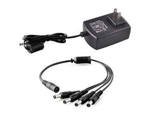 DC 12V 2A Security Camera Power Adapter with 1 to 4 Power Splitter for Security Camera System