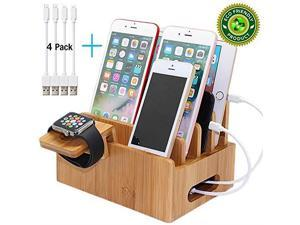 Charging Stations for Multiple Devices Desk Docking Station Organizer for Cell Phones Tablet Watch Stand Includes 4 Cables BUT NO Power Supply Charger Pezin Hulin