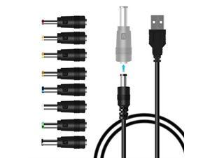 USB to DC Power Cable8 in 1 Universal USB to DC Jack Charging Cable Power Cord with 8 Interchangeable Plugs Connectors Adapter for RouterMini FanSpeaker and More Electronics DevicesBlack