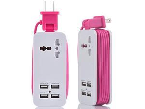 Power Strip Portable Travel Charger Outlets 21AMP+1AMP 21W 15M5ft Power Supply Cord with Universal Plug Wide Range Input 100v240v Power Sockets Charger Station 4 Port Charger Pink