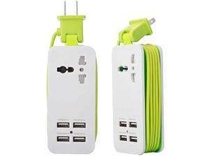 USB Power Strip 4 Port USB Charger Station 5V 21A1A 21W Travel Charging Strip Outlets 5ft Extension Power Supply Cord with Universal Flat Wall Plug 100V240V Input USB Power Sockets Green