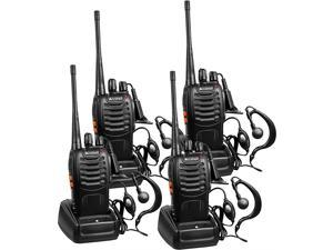 Rechargeable Long Range TwoWay Radios with Earpiece 4 Pack UHF 400470Mhz Walkie Talkies Liion Battery and Charger Included