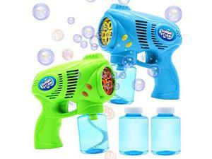 2 Bubble Guns with 2 Bottles Bubble Refill Solution 10 oz Total for Kids Bubble Blower for Bubble Blaster Party Favors Summer Toy Outdoors Activity Birthday Gift