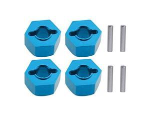 Aluminum 12mm Hex Wheel Hubs Nuts wPins Replacement of 1654 for RC Traxxas 110 Slash 4x4 Stampede 4WD 4Pack Blue