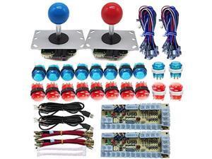 Arcade DIY LED Kit Zero Delay USB Encoder to PC Arcade Games 8 Way Joystick + 5V LED Illuminated Arcade Push Buttons Red Blue