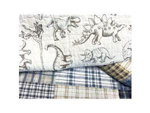 Benjamin Cute Dinosaur Plaid Printed Pattern Navy Blue White Grey Bedding Quilt Set 100 Cotton Reversible Coverlet Bedspread Set for Kids Boy Queen 3 Piece