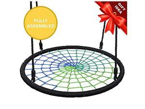 Spider Web Tree Swing 40 Inch Diameter Fully Assembled 600 lb Weight Capacity Easy to Install Cool Multi Color