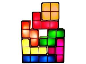 7 PCS Tetris Stackable Night Light 3D Puzzles Toy 7 Colors Magic Blocks Induction Interlocking LED Novelty Desk Lamp Lighting DIY for Teens and Adults Home Deco Great Gift for Birthday