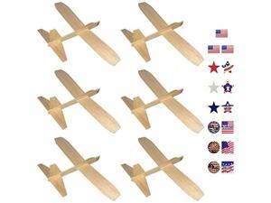 Balsa Wood Gliders Jetfire   Wooden Model Airplane Construction Kits   12Inch Customizable Unfinished Blank DIY Flying Toy Planes   6Pack with 15 Prismatic Patriotic Stickers from KYGON