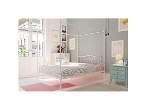 Canopy Metal Bed with Sturdy Bed Frame White Full