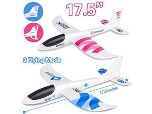2 Pack Airplane Toys 175 Large Throwing Plane Outdoor Sport Toy Foam Glider Aeroplane for 3 4 5 6 7 8 Year Old boy Toddlers Kids Flying Game Toy Styrofoam Airplanes Gift for Kids
