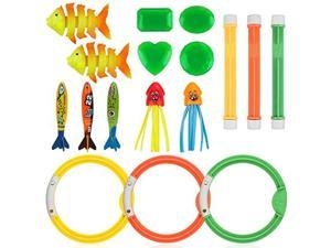 16pcs Diving Pool Toys Set Dive Stick Toys for Kids Swimming Pools Toys Including 3 pcs Dive Sticks 3 pcs Dive Rings 3 pcs Toypedo Bandits Perfect for Children Over 5 Years Old