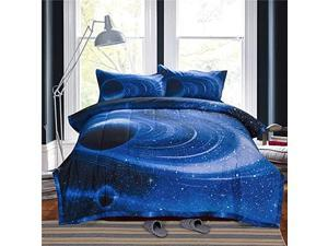 3D Galaxy Comforter Sets Full Size Outer Space Reversible Quilted Bed Sets Lightweight Ultra Soft Microfiber Bedding for Boys Teen