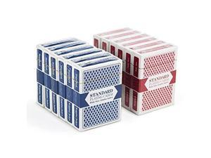 12 Decks 6 Red6 Blue WideSize Jumbo Index Plastic Coated Playing Cards