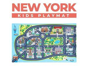 Play Mats for Toddlers Educational Road Car Rug with map of New York City Large 75 x 45 Floor Playmat for Children Ideal Rugs for Playroom Bedroom Activity Room for Toys Cars