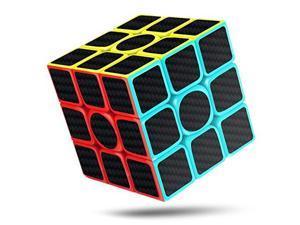 Rubiks Cube Rubix Cube Speed Cube 3x3x3 Smooth Magic Carbon Fiber Sticker Rubix Speed Cubes Enhanced Version 57 Black