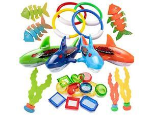 26PCS Diving Pool Toys Underwater Swimming Pool Toys Including 4 Diving Rings 4 Toypedo Bandits 3 Stringy Octopus 3 Diving Fish and 12 Treasures Gift Set for Kids Ages 3 and Up