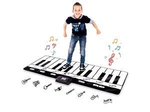 Giant Piano Mat Jumbo Floor Keyboard with Play Record Playback and Demo Modes 8 Different Musical Instruments Sound Options 70in Play Mat 24 Keys
