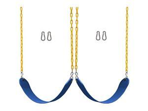 2 Pack Swings Seats Heavy Duty 66 Chain Plastic Coated Playground Swing Set Accessories Replacement Snap Hooks Blue