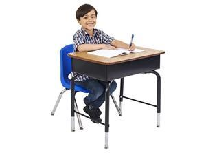OpenFront Student Desk with Metal Book Box 24 x 18 Adjustable School Desk Desk for Kids Desk with Storage ReadytoAssemble Oak Black