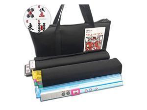 American Mahjong Set Black Paisley Soft Bag 166 White Engraved Tiles 4 AllInOne RackPushers Western Mah Jongg Game Set
