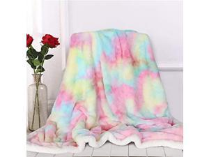 Cute Fuzzy Unicorn Blanket Girls Rainbow Decorative Sofa Couch and Floor Throw Warm Cozy Super Soft Bed Cover Long Shaggy Hair Faux Fur Sherpa Backing Pastel Pink Green 63 x 79 Inches