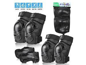 Knee Pads Elbow Pads with Wrist Guards Protective Gear Set 6 Pack for Rollerblading Skateboard Cycling Skating Bike Scooter Riding Sports Black2 SKids37 Years