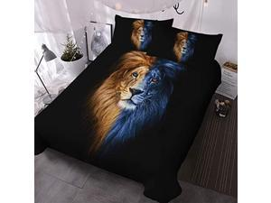 Lion Bedding Set Queen Size Male Lion Portrait Fire and Ice Bed Set Wild Animal Duvet Cover 3 Piece Mens Bedspread Sets