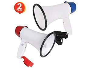 BatteryOperated Megaphone Set of 2 Portable Mega Phone Loud Speaker with Siren Volume Control and Hanging Strap Great Gift or Prize for Kids and Adults Blue and Red