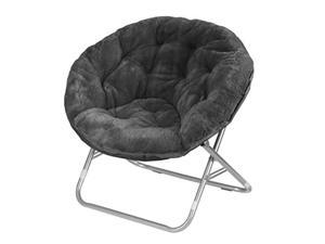 Faux Fur Saucer Chair with Metal Frame One Size Black