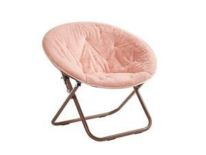 Faux Fur Saucer Chair with Metal Frame One Size Blush
