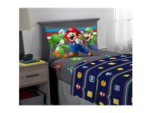 Kids Bedding Soft Microfiber Sheet Set 3 Piece Twin Size Super Mario