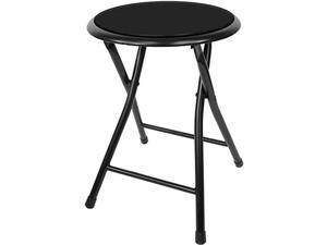 Folding Stool Heavy Duty 18Inch Collapsible Padded Round Stool with 300 Pound Capacity for Dorm Rec Room or Gameroom Black