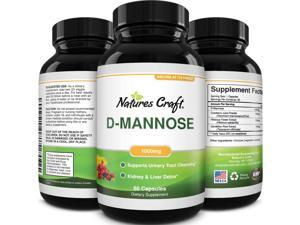 D Mannose with Cranberry Extract Capsules - D Mannose Capsules for Kidney Cleanse Liver Support and Urinary Tract Health for Women